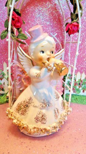 Vtg ARTMARK January Angel Girl w/ PINK PARTY HAT Gold Horn Ruffled Dress LABEL