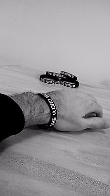 The Word with G Wristband, Black with white writing