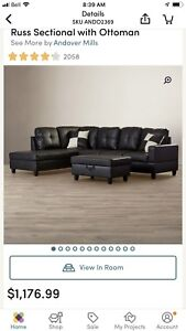 Brand new Sectional No Ottoman