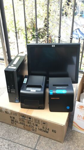 "15"" Touchscreen All In One POS System Restaurant Point Of Sale 2 Printers"