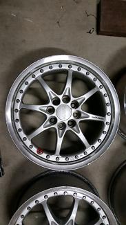 "Genuine set Rays GRN 15"" 4x100 silver jdm wheels rims"