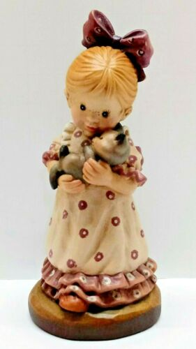 """Vintage ANRI Wood Carving """"Snuggle Up"""" by Sarah Kay Girl and Cat"""