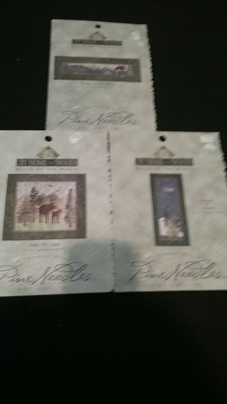 PINE NEEDLES ART QUILTS, AT HOME IN THE WOODS, BLOCK OF THE MONTH. LOT OF 3 PATT - $12.00