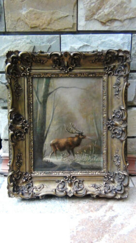 Atherton Furlog(1849-1919) Original Oil On Canvas Scene Caribou On First Snow