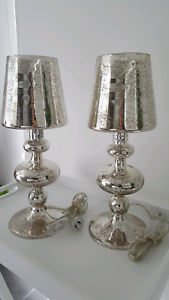 2X GORGEOUS CRYSTAL MIRRORED BEDSIDE LAMPS - WITH PS GLOBES Skye Frankston Area Preview