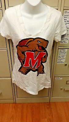 Ncaa Maryland Terrapins Womens White V Neck T Shirt Size Large Brand New