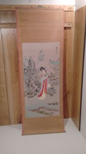 """vintage Japanese  wall hanging hand painted bamboo scroll signed 40"""" X 14"""""""