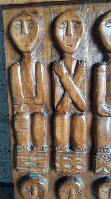 Tribal Art Cycladic Style Carved Wooden Panel 25 Inches 4.5 Kilos