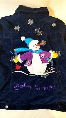 - Quacker Factory Womens Jacket XL Velvet Snowman Capture The Magic Flaw