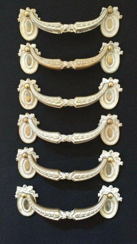 "6 Vintage Keeler Brass French Provincial Ornate Drawer Pulls 6 1/2"" across"