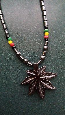 Jamaican Rasta Hematite beads maple leaf weed pot leaf pendant necklace ()