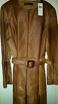 NWT Beautiful Dana Buchman cognac camel  calfskin leather jacket coat trench 12