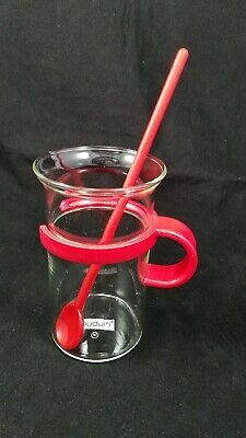 1 Bodum Tall Glass Hot Iced Coffee Tea Mug Cup Clear Red Handle Vintage W/Spoon ()