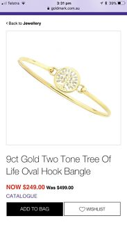 9ct gold tree of life bangle