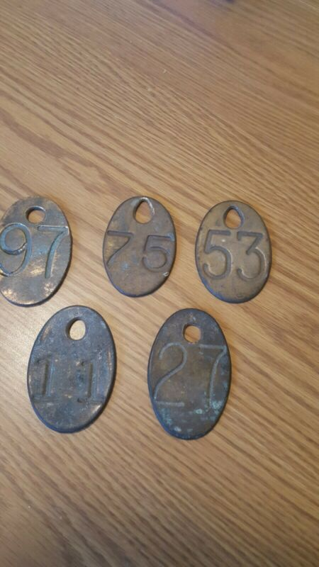 5 Vintage Brass Cow Tags numbered on both sides. 11, 27, 53, 75 and 97