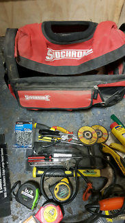 Sidchrome tool bag plus hand tools, screwdrivers, socket sander