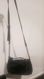 Brand new black leather hip bag