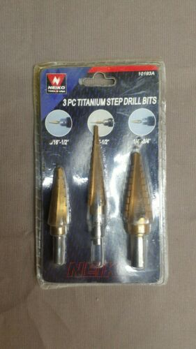 Neiko 3-Piece Titanium Step Drill Bits Set M2 Steel - 28 Siz
