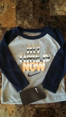 New Boys Nike Long Sleeved Shirt My Time Is Now Size 12 Months Blue Gray