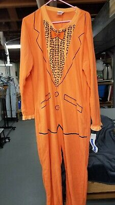 Dumb And Dumber Medium M Orange One Piece Zipper Suit Pajamas Tux Costume Lloyd (Dumb And Dumber Suit)
