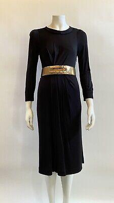 GUCCI Vintage Black Long Sleeve Gold Chunky Belt Cut Out Back Dress Size L