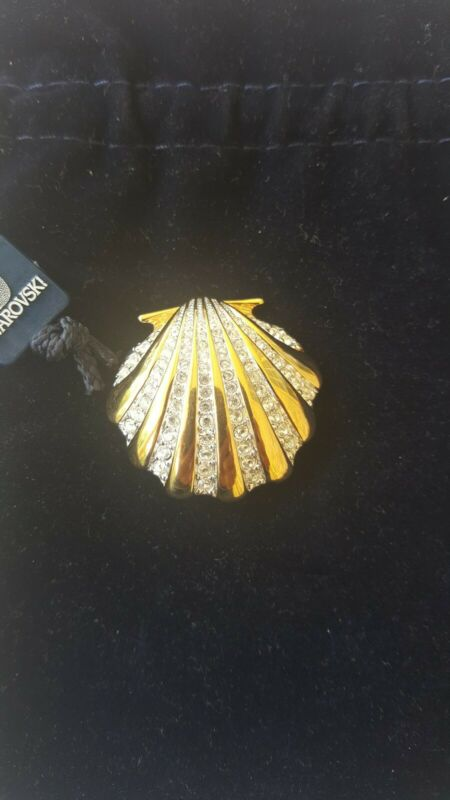 Swarovski Swan Signed Gold Tone Clear Crystal Sea Shell Brooch
