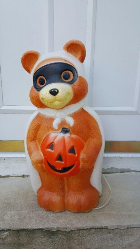 """EMPIRE 1995 Halloween 23"""" Masked Bandit Lighted Teddy Bear Pumpkin Blow Mold"""