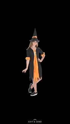 Halloween Witch Costume Child Large 8-10 years  (Free 💀👻🎃 Surpise) (Baby New Year Halloween Costume)