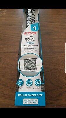 """Auto Drive Retractable Roller Sun Shade For Car Window Zebra Print-""""NEW IN BOX"""""""