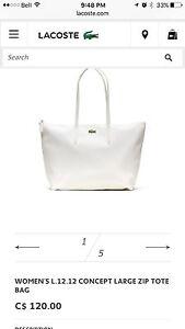 New white Lacoste bag