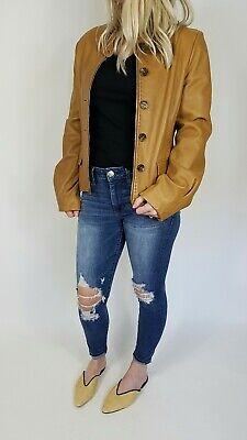 BCBG MAXAZRIA Medium (M) Caramel Brown Leather Jacket Zip Buttons Retail: $558