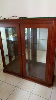 Solid Timber Display Cabinet with Light Excellent Condition