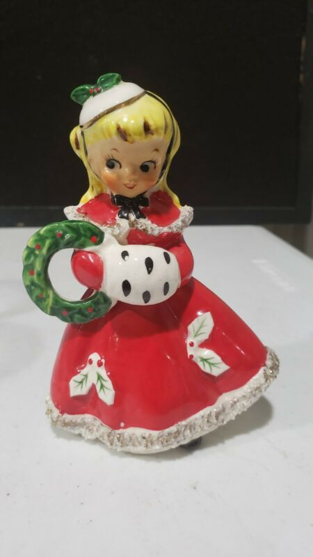 Vintage Christmas Relco Shopping Girl Holiday Wreath Figurine 5""