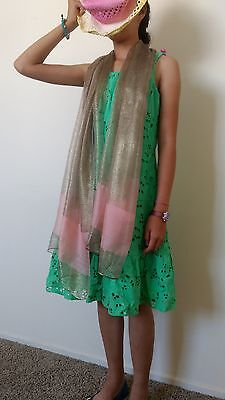 Gold 100% Mulberry SILK and gold thread mix Long SCARF with pink band  on end