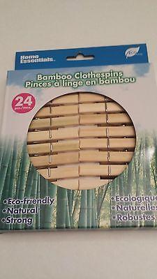 24 Pcs Bamboo Natural Clothespins Laundry Clothes Pins Large Spring Regular Size