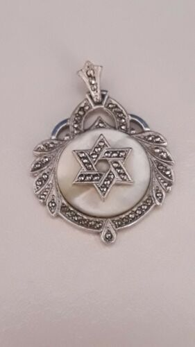 Marcasite and mother of pearl sterling star of david pendant