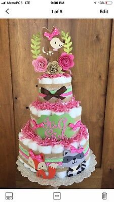 Girl Diaper Cake Woodland Theme, Woodland Baby Shower