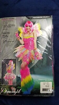Rainbow Fairy Halloween Costume Adult Tutu Dress Wings Medium - Rainbow Fairy Costumes