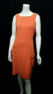 Vintage 1960's Horrockses Fashions Vibrant Orange Shift Dress Size UK 8-10
