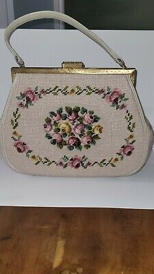 1950s Handbags, Purses, and Evening Bag Styles VTG Needlepoint Purse Cream Flowers Roses Mid Century Art Deco... $34.00 AT vintagedancer.com