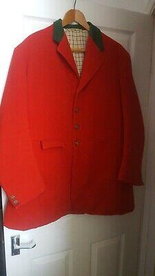 """Vtg Bespoke Tedworth Hunt Red Melton Cloth Hunting Coat size 44"""""""