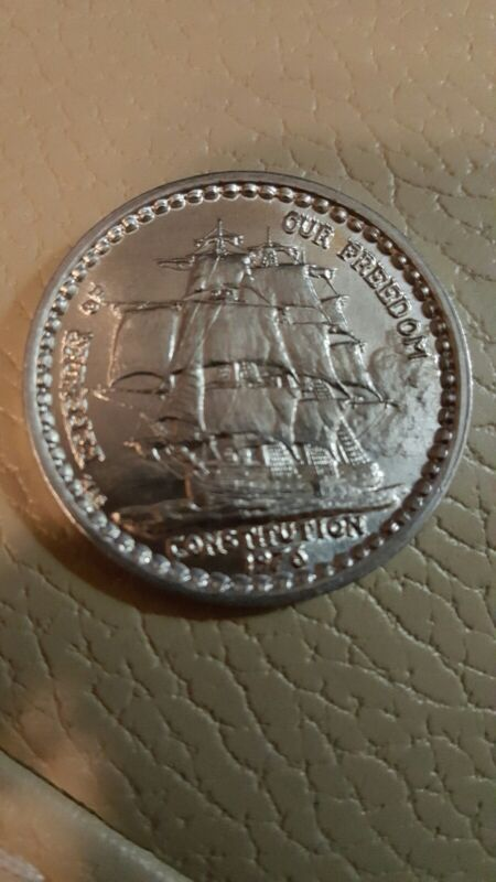sailing ship USS CONSTITUTION 1976 poseidon Mardi Gras Doubloon Coin new orleans