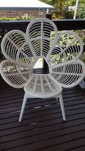 peacock design white cane chair