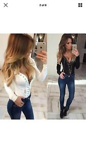 Lace Up Tie Top/blouse In White With Gold NEW Georgetown Newcastle Area Preview