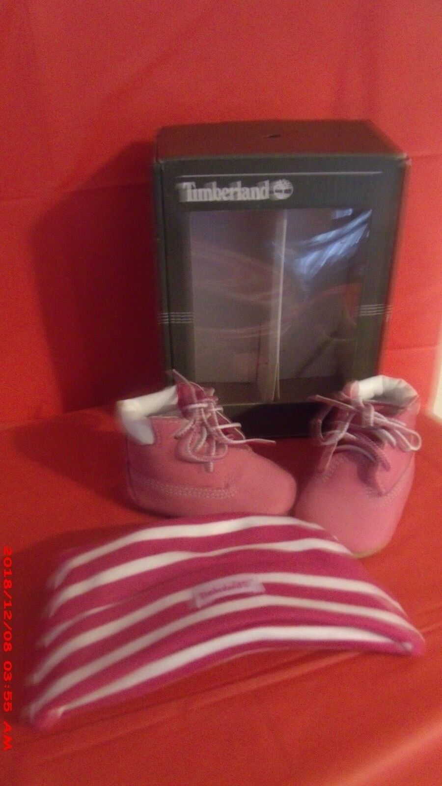 Timberland Crib With Hat Bootie Infant/Toddler Pink 0 M US infant