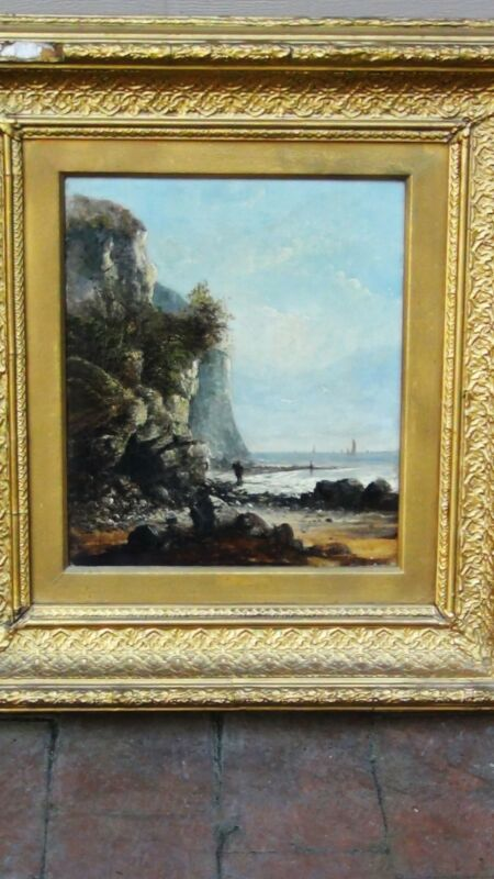 Antique 18c French Oil Painting Of A Rocky Coastal Scene W/figures Looking   #2