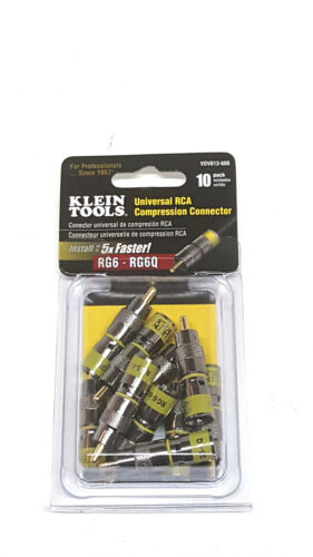 Klein Tools VDV813-608 Universal RCA Compression Connector RG6/6Q 10 Pack