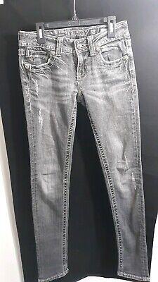 Miss Me Black Skinny Jeans 26 Peace Sign Embellished Pockets Rhinestone JP5091SK