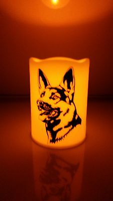 German Shepherd Flameles Candle-German Shepherd Dog Silohette Candle