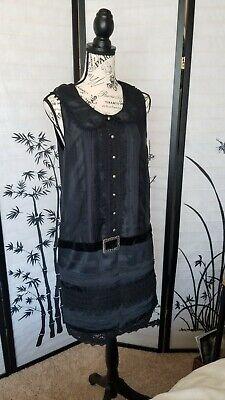 New Anna Sui Target 20th Anniversary M Black Belted Mini Satin Dress Pleated